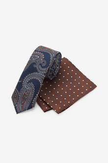 Next Navy/Rust Paisley Tie With Pocket Square Set - 256163