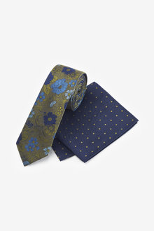 Next Floral Tie With Polka Dot Pocket Square - 256164