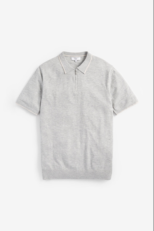 Next Cotton Short Sleeve Zip Polo Top