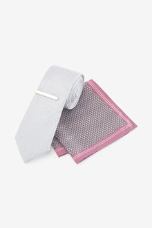 Next Tie With Geometric Pocket Square And Tie Clip Set - 256175