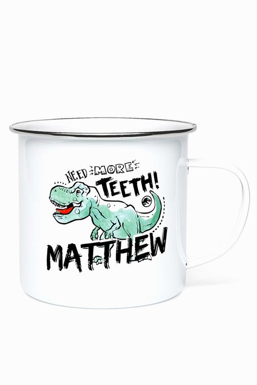 Personalised Jurasic Park Teeth Enamel Mug