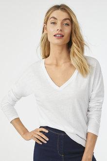 3/4 Sleeve Cotton Slub Tee - 256191