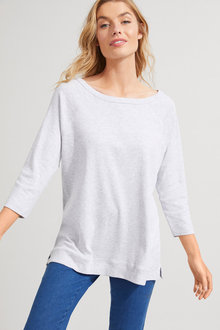 3/4 Sleeve Ribbed Raglan Tee - 256193