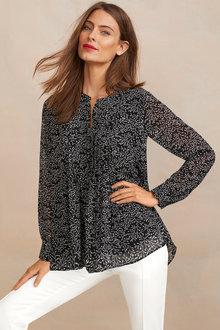 Long Sleeve Printed Chiffon Shirt - 256203