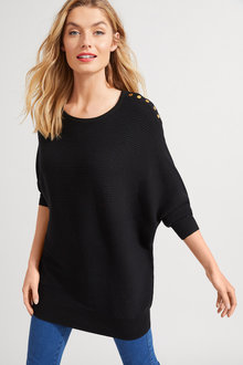 Long Sleeve Button Rib Batwing - 256205