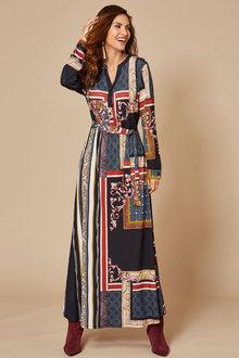 Kaleidoscope Scarf Print Dress - 256412