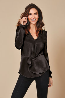 Kaleidoscope Wrap Peplum Top - 256424