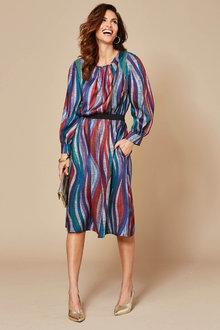Kaleidoscope Lurex Waist Printed Dress - 256434