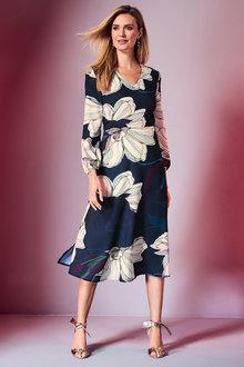 Kaleidoscope Long Sleeve Print Dress - 256447