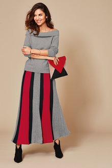 Kaleidoscope Stripe Knit Skirt - 256454