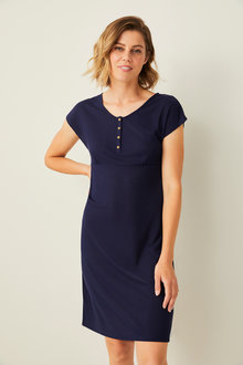 Mia Lucce Ribbed Button Nightie - 256514