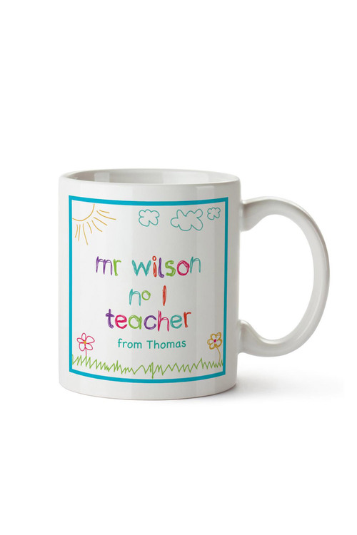 Personalised No. 1 Teacher Drawing Ceramic Mug