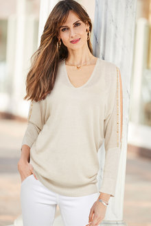 European Collection Embellished Sleeve Pullover - 256599