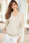 European Collection Embellished Sleeve Pullover