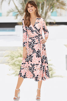 European Collection Pebble Print Wrap Dress - 256612