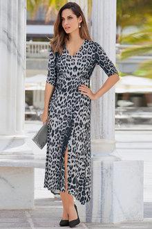 European Collection Leopard Print Dress - 256616