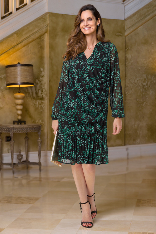 European Collection Pleat Print Dress