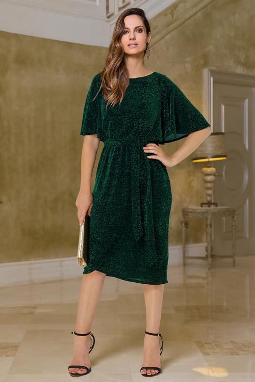 European Collection Flare Sleeve Metallic Dress