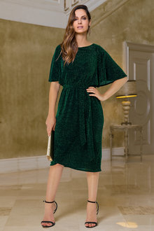 European Collection Flare Sleeve Metallic Dress - 256621