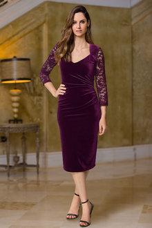 European Collection Lace Sleeve Velvet Dress - 256622