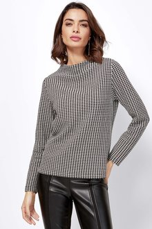 Euro Edit Long Sleeve Houndstooth Pattern Top - 256638