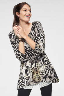 Euro Edit Animal Print Tunic - 256645