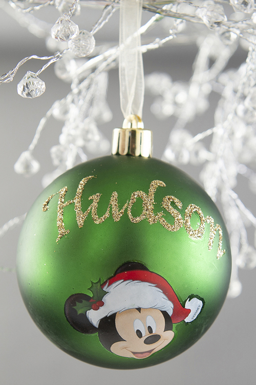 Personalised Green Mickey Mouse Christmas Bauble