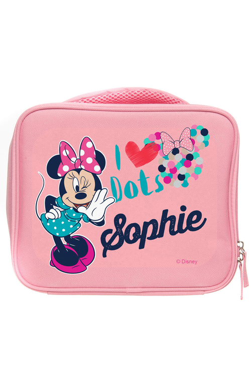 """Personalised Minnie Mouse """"I Love Dots"""" Lunch Bag"""