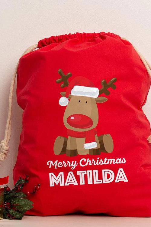 Personalised Reindeer Red Canvas Sack
