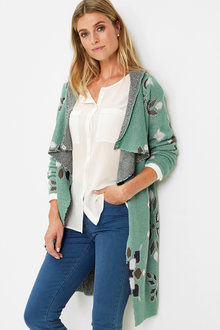 Euro Edit Longline Patterned Cardigan - 256762