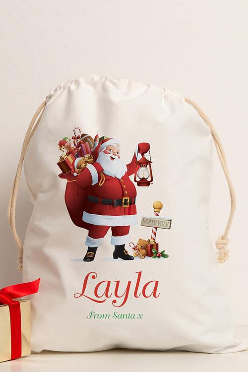 Personalised Storage Sack Santa North Pole
