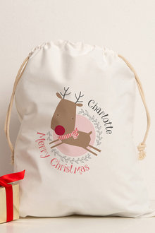 Personalised Christmas Reindeer Canvas Storage Sack - 256778