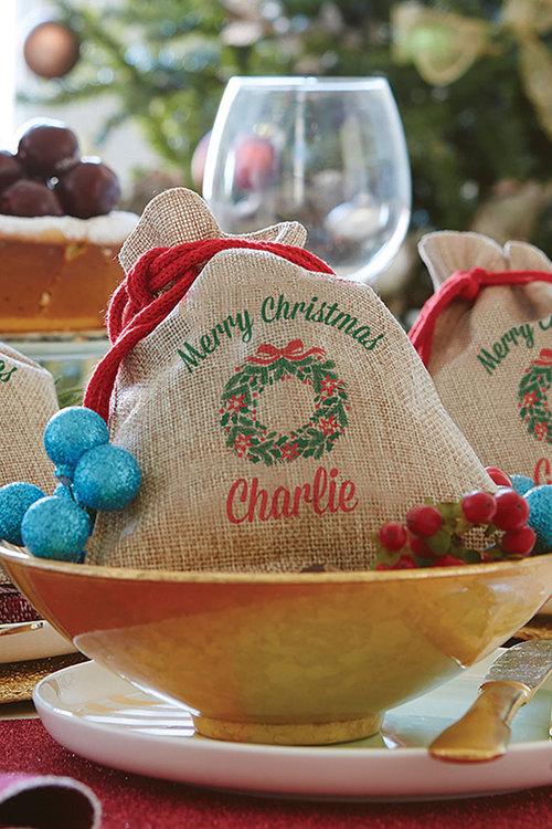 Wreath Mini Vintage Christmas Sack