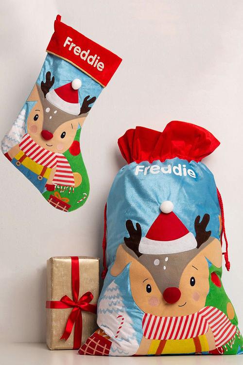 Personalised Baby Reindeer Stocking & Sack Bundle