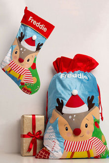Personalised Baby Reindeer Stocking & Sack Bundle - 256793