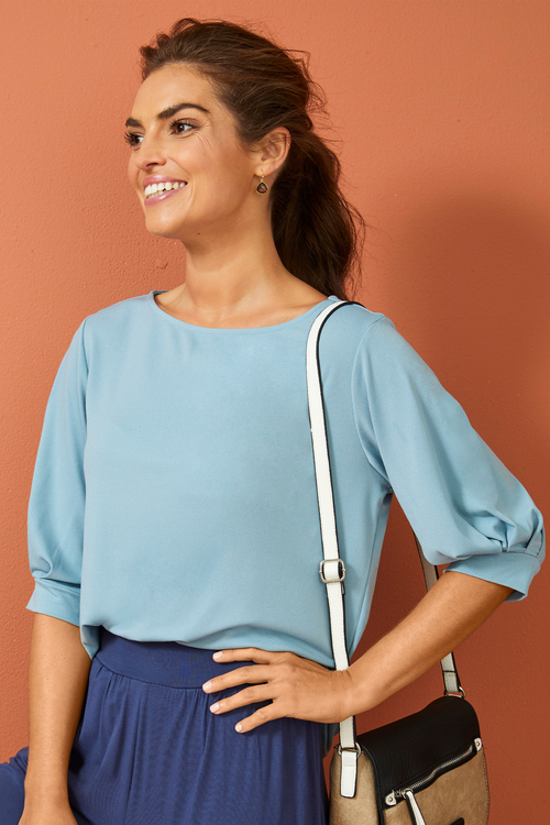 Capture Pleated Sleeve Knit Top