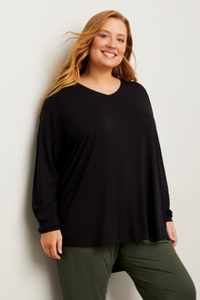 Sara Long Sleeve V Neck Tee - 256836