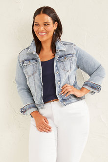 Sara Distressed Denim Jacket - 256849