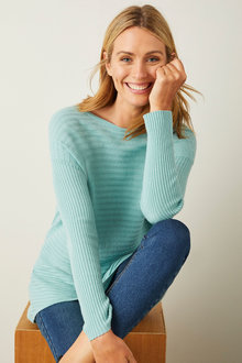 Capture Merino Ribbed Crew Neck Sweater - 256858