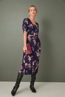 Capture Knit Printed Midi Dress - 256894
