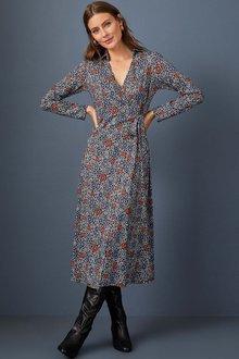 Capture Knit Wrap Midi Dress - 256902