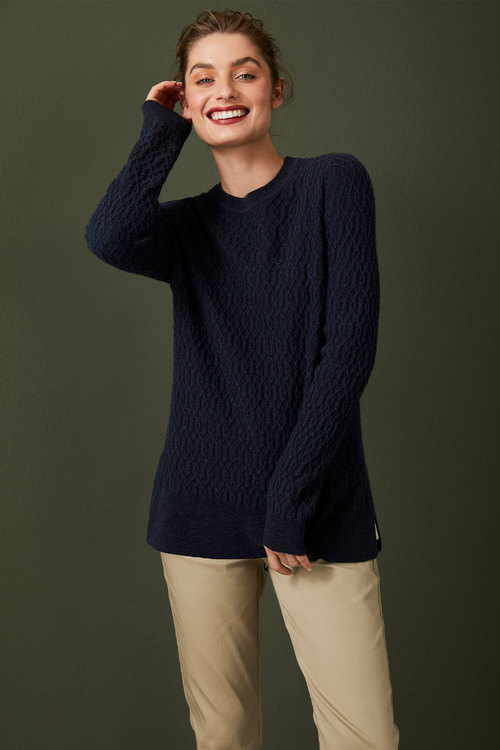 Capture Lambswool Cable Crew Neck