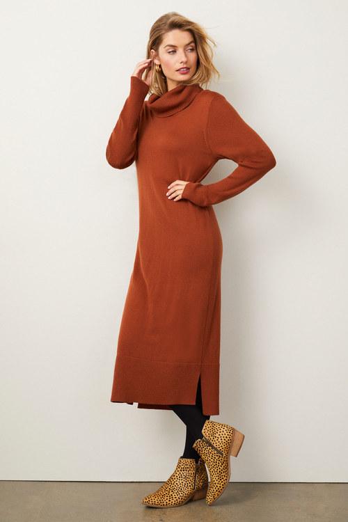 Capture Merino Cowl Neck Midi Dress