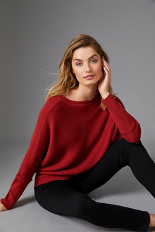 Capture Merino Ribbed Dolman Sweater - 256966