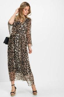 Euro Edit Leopard Print Maxi Dress - 256976
