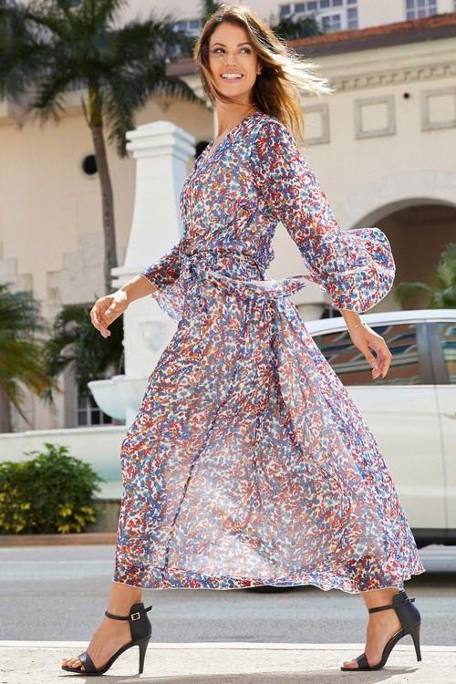 Euro Edit Long Sleeve Print Maxi Dress