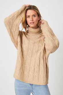 Capture Cable Knit Roll Neck - 256992