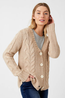 Capture Cable V Neck Cardigan - 256995