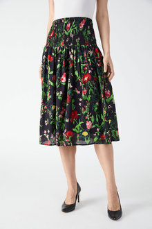 Grace Hill Shirred Printed Skirt - 257004
