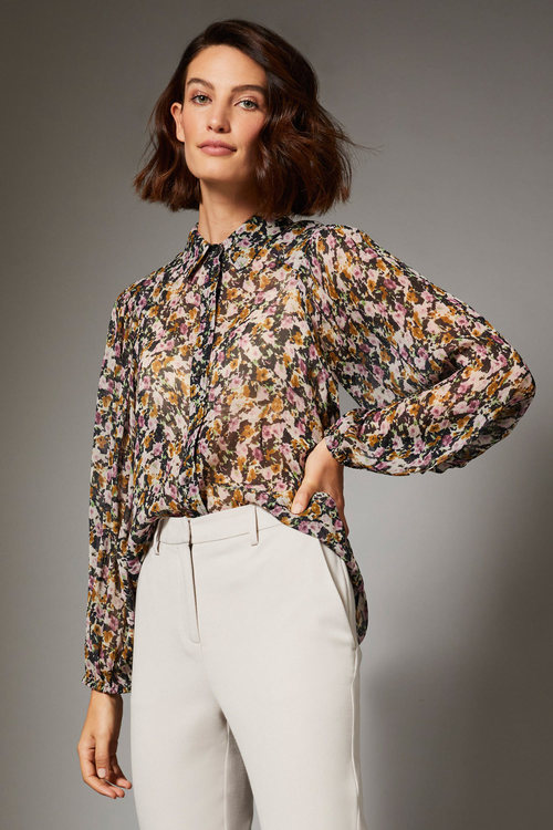 Grace Hill Chiffon Blouson Sleeve Shirt